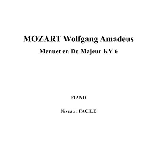 IPE MUSIC MOZART W. A. - MINUET IN C MAJOR KV 6 - PIANO