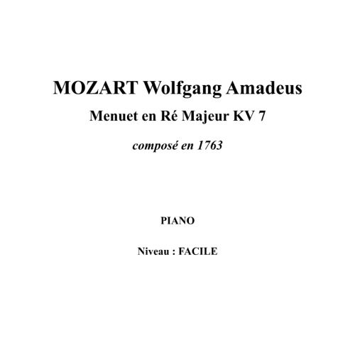 IPE MUSIC MOZART W. A. - MINUET IN D MAJOR KV 7 COMPOSED IN 1763 - PIANO