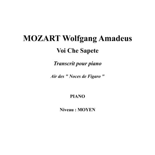 IPE MUSIC MOZART W. A. - VOI CHE SAPETE ARRANGED FOR PIANO - PIANO