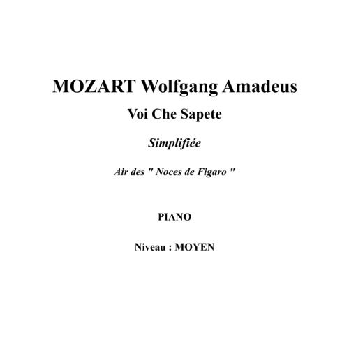 IPE MUSIC MOZART W. A. - VOI CHE SAPETE SIMPLIFIED VERSION - PIANO