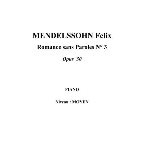 IPE MUSIC MENDELSSOHN FELIX - SONG WITHOUT WORDS N° 3 OPUS 30 - PIANO
