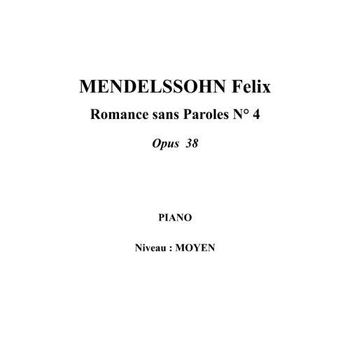 IPE MUSIC MENDELSSOHN FELIX - SONG WITHOUT WORDS N° 4 OPUS 38 - PIANO