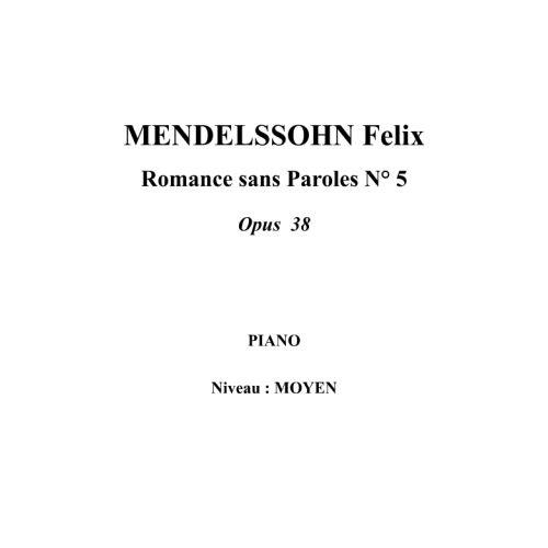 IPE MUSIC MENDELSSOHN FELIX - SONG WITHOUT WORDS N° 5 OPUS 38 - PIANO