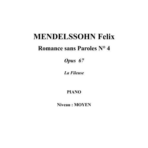 IPE MUSIC MENDELSSOHN FELIX - SONG WITHOUT WORDS N° 4 OPUS 67 - PIANO