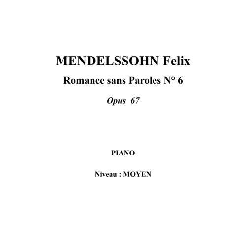 IPE MUSIC MENDELSSOHN FELIX - ROMANZA SIN PALABRAS N° 6 OPUS 67 - PIANO