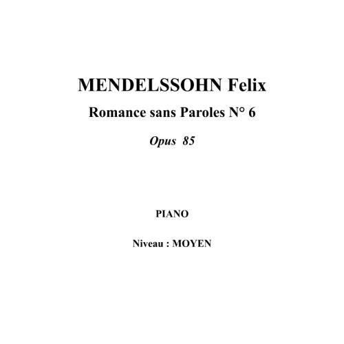 IPE MUSIC MENDELSSOHN FELIX - SONG WITHOUT WORDS N° 6 OPUS 85 - PIANO