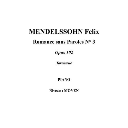 IPE MUSIC MENDELSSOHN FELIX - SONG WITHOUT WORDS N° 3 OPUS 102 - PIANO