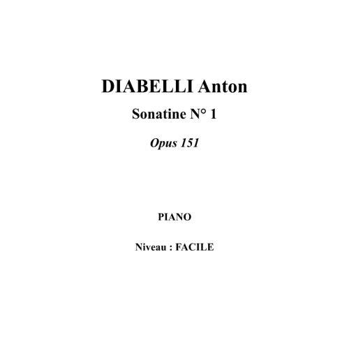 IPE MUSIC DIABELLI ANTON - SONATINA N° 1 OPUS 151 - PIANO