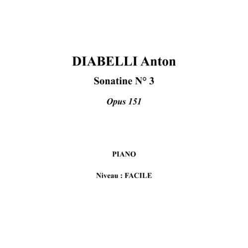 IPE MUSIC DIABELLI ANTON - SONATINA N° 3 OPUS 151 - PIANO
