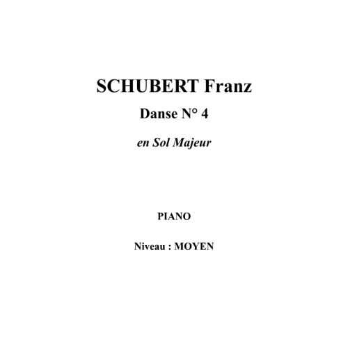 IPE MUSIC SCHUBERT FRANZ - DANSE N° 4 EN SOL MAJEUR - PIANO