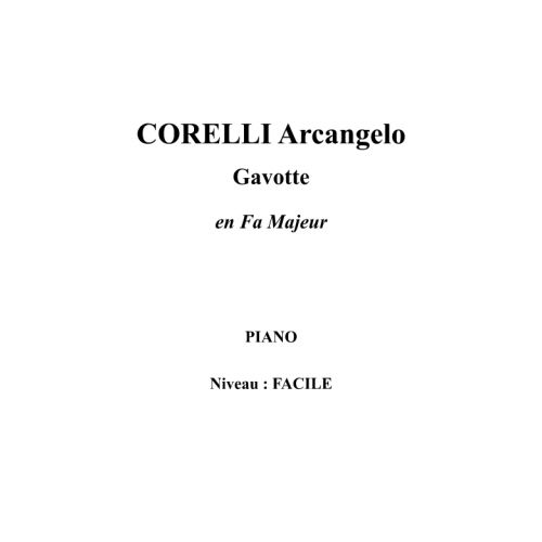 IPE MUSIC CORELLI ARCANGELO - GAVOTTE IN F MAJOR - PIANO