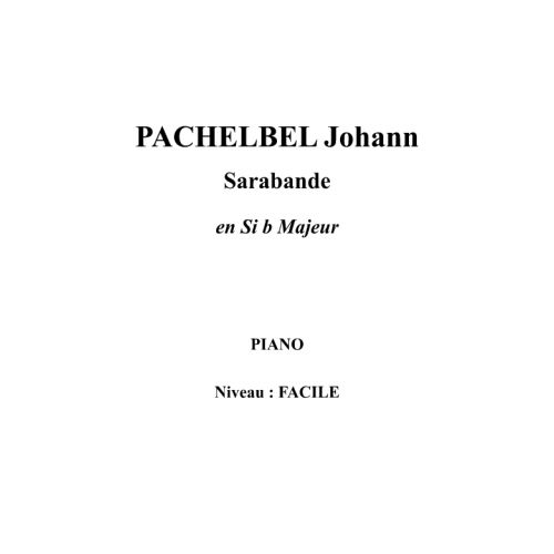 IPE MUSIC PACHELBEL JOHANN - SARABANDE IN BB MAJOR - PIANO