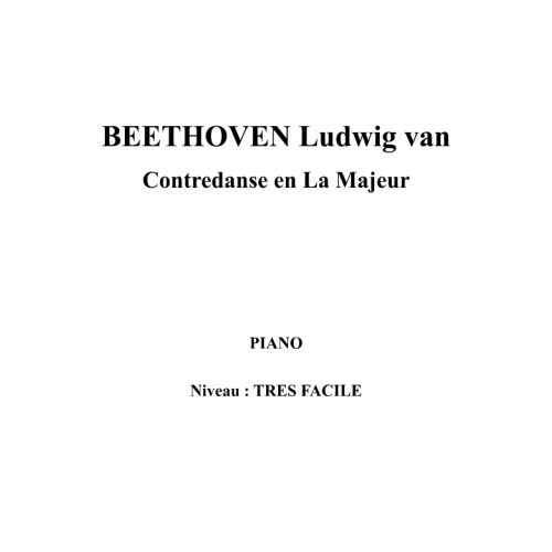 IPE MUSIC BEETHOVEN LUDWIG VAN - CONTREDANCE IN A MAJOR - PIANO