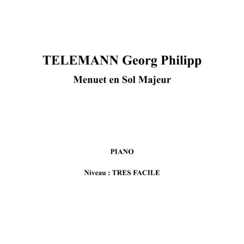 IPE MUSIC TELEMANN GEORG PHILIPP - MINUETO EN SOL MAYOR - PIANO