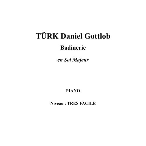 IPE MUSIC TURK DANIEL GOTTLOB - BADINERIE IN G MAJOR - PIANO