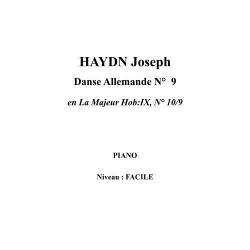 IPE MUSIC HAYDN JOSEPH - GERMAN DANCE N° 9 IN A MAJOR HOB:IX, N° 10/9 - PIANO