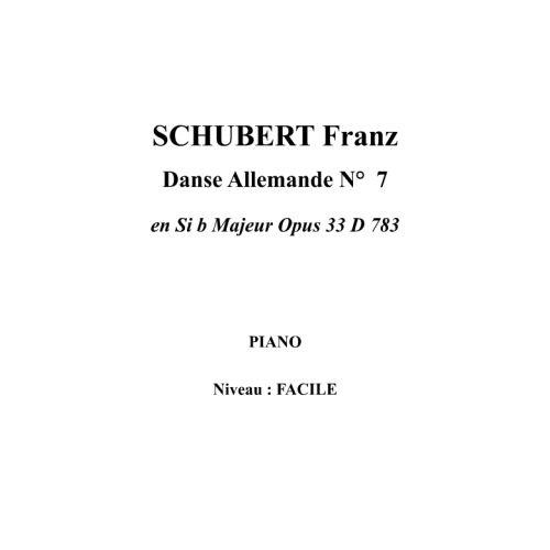 IPE MUSIC SCHUBERT FRANZ - DANZA ALEMANA N° 7 EN SI B MAYOR OPUS 33 D 783 - PIANO