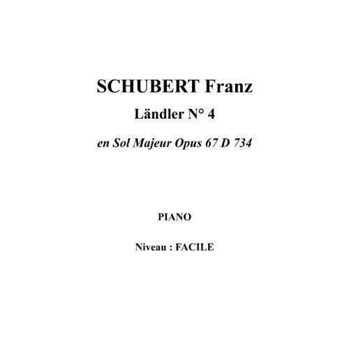 IPE MUSIC SCHUBERT FRANZ - LANDLER N° 4 EN SOL MAJEUR OPUS 67 D 734 - PIANO