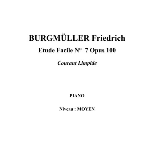 IPE MUSIC BURGMULLER FRIEDRICH - EASY STUDY N° 7 OPUS 100 BY THE LIMPID STREAM - PIANO
