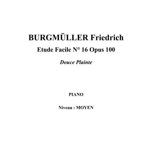 IPE MUSIC BURGMULLER FRIEDRICH - ESTUDIO FACIL N° 16 OPUS 100 DULCE QUEJA - PIANO