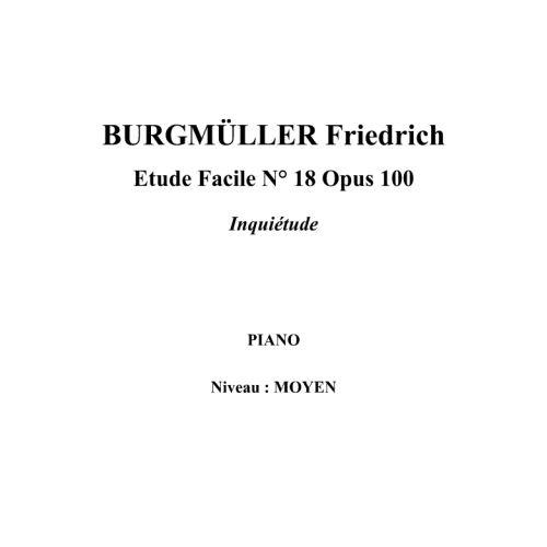 IPE MUSIC BURGMULLER FRIEDRICH - ESTUDIO FACIL N° 18 OPUS 100 INQUIETUD - PIANO
