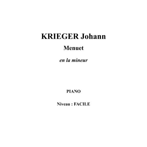 IPE MUSIC KRIEGER JOHANN - MINUETO EN LA MENOR - PIANO