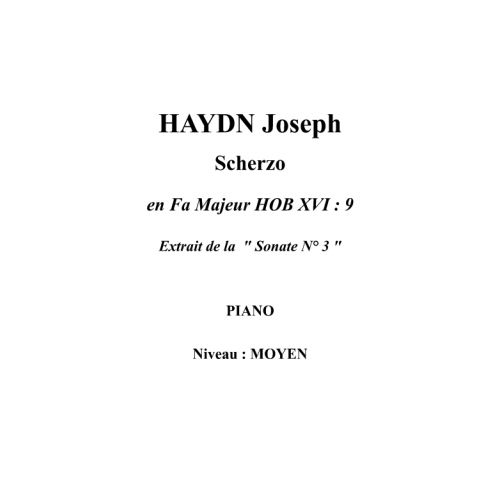 IPE MUSIC HAYDN JOSEPH - SCHERZO IN F MAJOR HOB XVI : 9 - PIANO