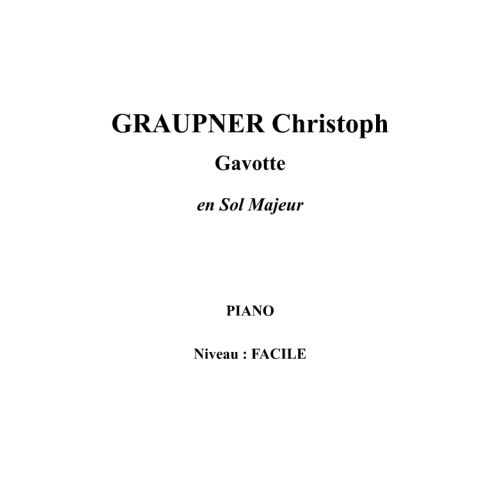 IPE MUSIC GRAUPNER CHRISTOPH - GAVOTTE IN G MAJOR - PIANO