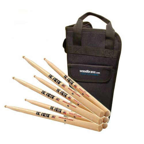 VIC FIRTH 3 AMERICAN CLASSIC HICKORY 5A PACK + WOODBRASS.COM BAG