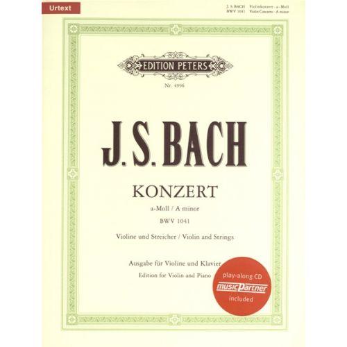 EDITION PETERS BACH JOHANN SEBASTIAN - CONCERTO A MIN BVW1041 + CD - VIOLIN AND PIANO