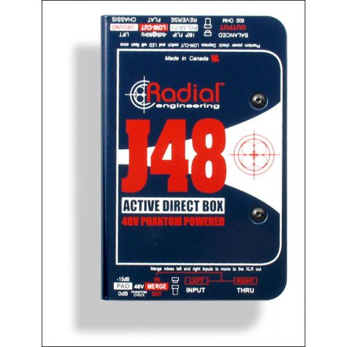 RADIAL J48 CLASS A ACTIVE DI BOX 48V PHANTOM POWERED