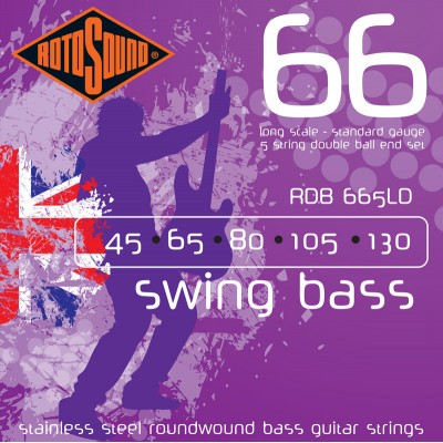 ROTOSOUND SWING BASS STAINLESS STEEL DOUBLE BALL END 5 STRINGS 45-130
