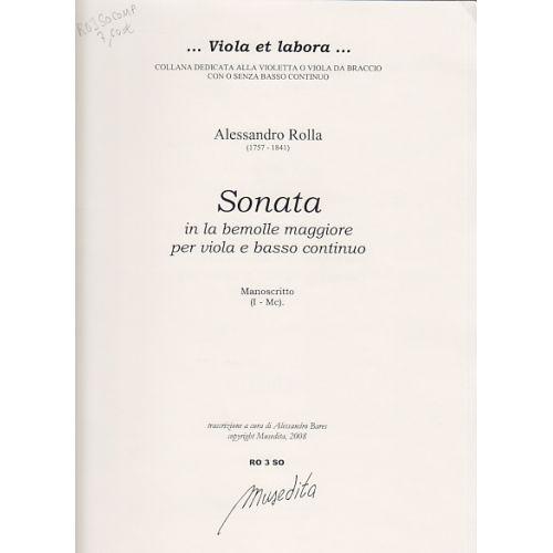 MUSEDITA ROLLA ALESSANDRO - SONATA IN LA BEMOLLE MAGGIORE - VIOLA DA BRACCIO E BC