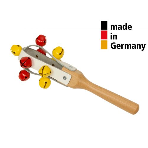 ROHEMA JINGLE MARACAS 25CM - LEATHER WITH 9 BELLS - 3+