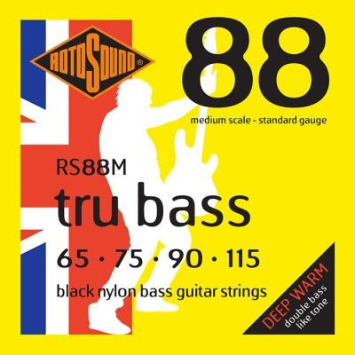 ROTOSOUND TRU BASS 88 RS88M BLACK NYLON FLATWOUND MEDIUM 65115