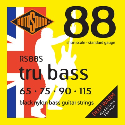 ROTOSOUND TRU BASS 88 RS88S BLACK NYLON FLATWOUND SHORT 65115