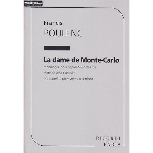 RICORDI POULENC FRANCIS - LA DAME DE MONTE-CARLO (SOPRANO ET PIANO)