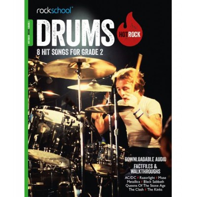 ROCK SCHOOL LIMITED ROCKSCHOOL DRUMS HOT ROCK GRADE 2 (Book/Download Card)