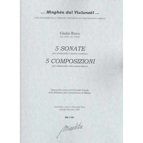 MUSEDITA RUVO G. - 5 SONATE E 5 COMPOSIZIONI - VIOLONCELLE ET BC