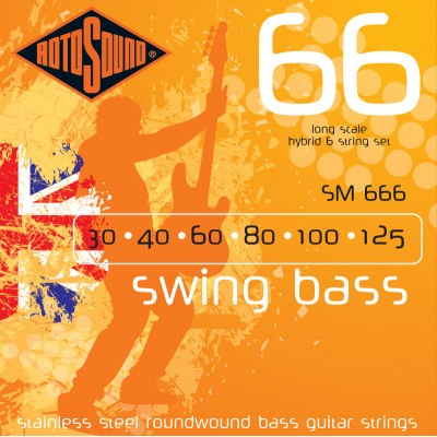 ROTOSOUND SWING BASS STAINLESS STEEL 6 STRINGS HYBRID 30 40 60 80 100 125