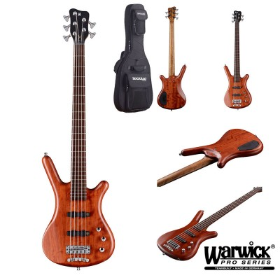 WARWICK BASS GERMAN PRO SERIES CORVETTE BUBINGA ACTIVE 5 NATURAL SATIN