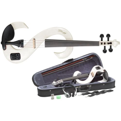 STAGG 4/4 ELECTRIC VIOLIN SET EVN WH - WHITE