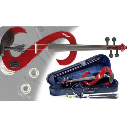 STAGG 4/4 ELECTRIC VIOLA SET EVA MRD - METALIC RED