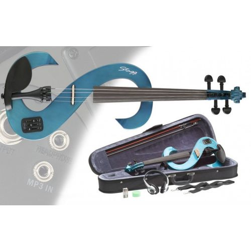 STAGG 4/4 ELECTRIC VIOLIN SET EVN TB - TRANSPARENT BLUE
