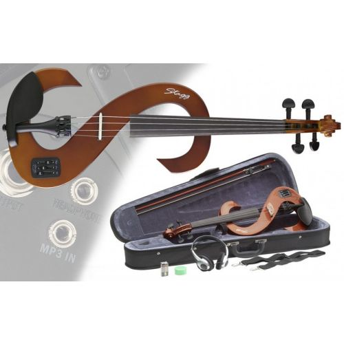 STAGG 4/4 ELECTRIC VIOLIN SET EVN VBR - VIOLINBURST