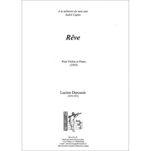 SYMETRIE DUROSOIR L. - RÊVE, POUR VIOLON ET PIANO - VIOLON