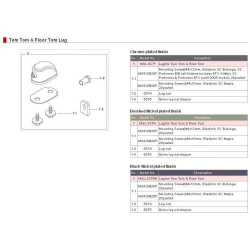TAMA MSL-SCTBN - TOM / SNARE STARCLASSIC LUG - BLACK NICKEL