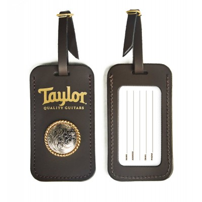 TAYLOR GUITARS LEATHER LUGGAGE TAG W/ CONCHO CHOCOLATE BROWN GOLD LOGO