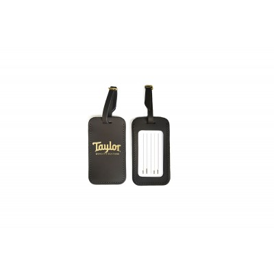 TAYLOR GUITARS LEATHER LUGGAGE TAG CHOCOLATE BROWN GOLD LOGO