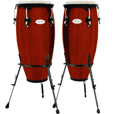 TOCA SERIES WOOD CONGA SET WITH STAND 10'' AND 11'' BARREL STAND RED 2300RR-B